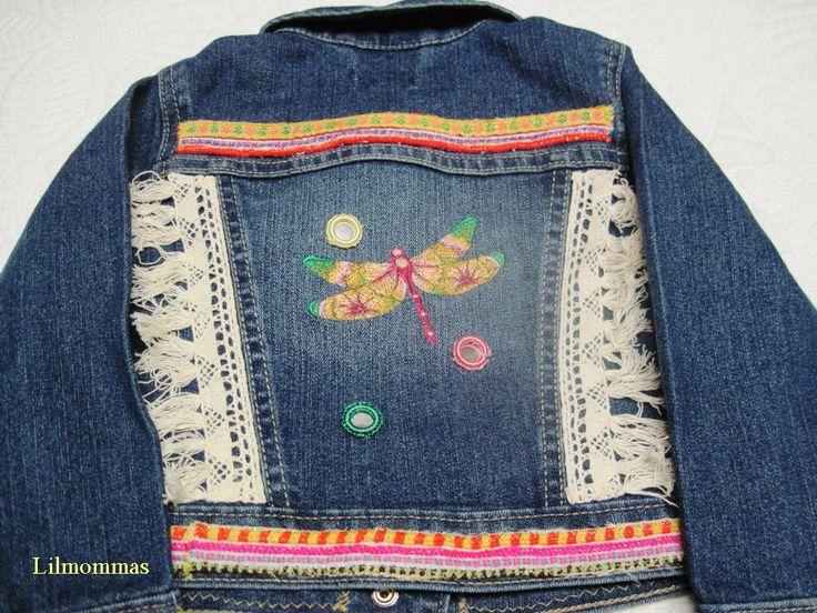 Toddler boho tribal vintage textile denim jacket in size 2T, gypsy baby jacket, hippie baby denim jacket by lilmommas on Etsy
