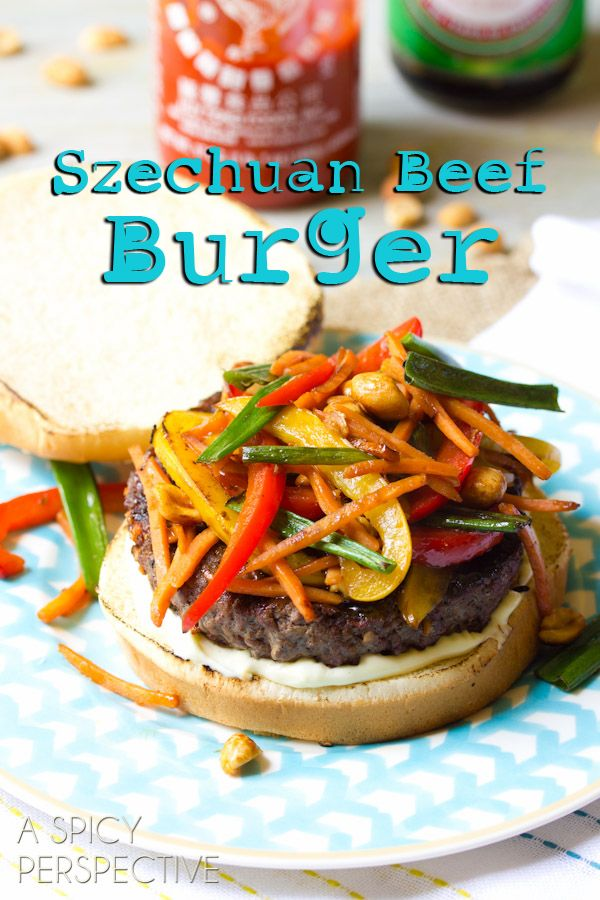 Szechuan Beef Burgers _ It's Burger Friday, Whoo-hooooo! Let's celebrate with Szechuan Beef Burgers! A savory blend of all you love about Chinese takeout and backyard grilling.