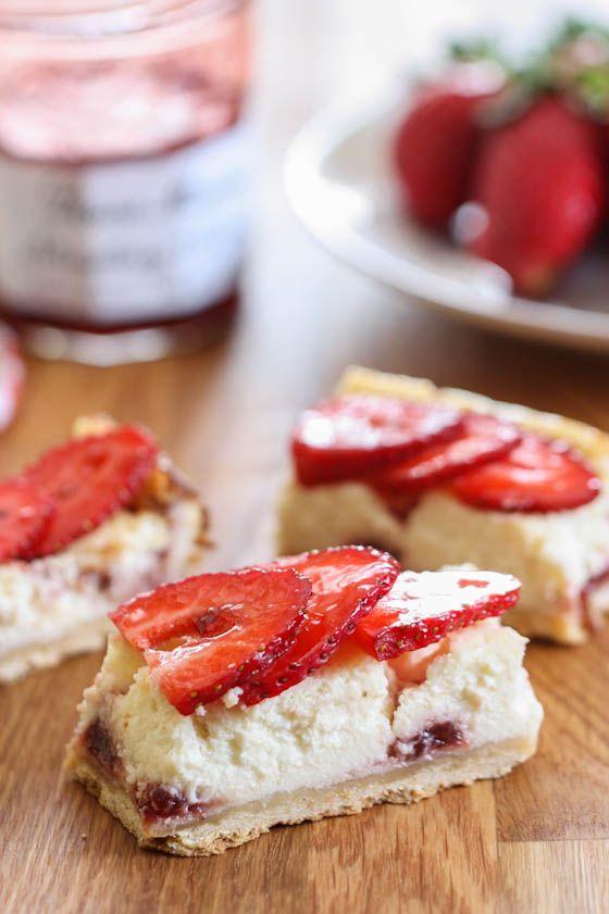 Strawberry Greek Yogurt Cheesecake Squares