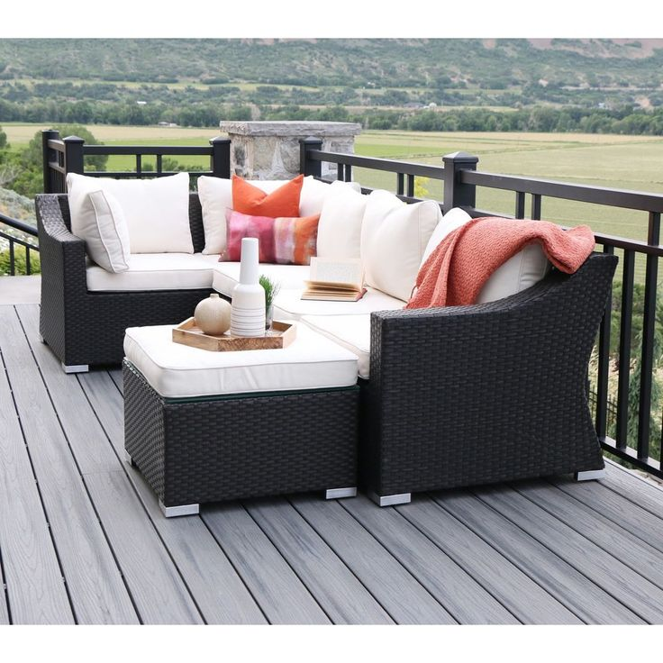 Espresso Outdoor Furniture Set - Outdoor Sectional Sofa -Outdoor Patio Furniture  | eBay  Bring a welcoming touch to any deck or patio with this charming sectional sofa and ottoman. Features a classic, woven pattern constructed from PVC rattan supported by a cast aluminum frame.