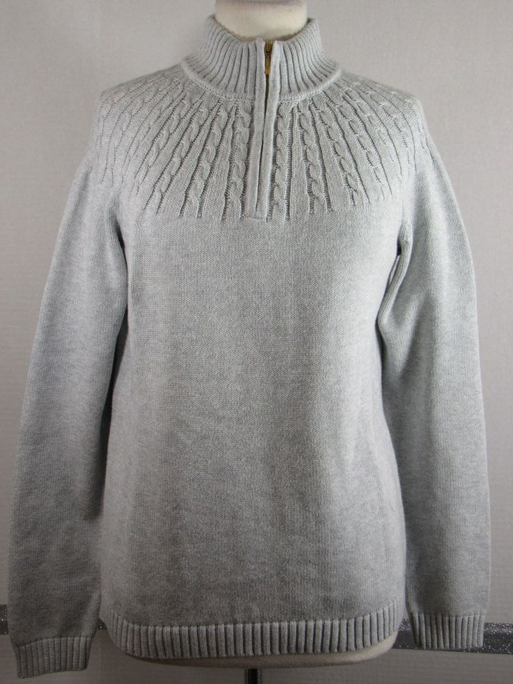 NEW Lands' End Drifters Sweater M 10-12 Gray 1/4 Zip Cable knit ...