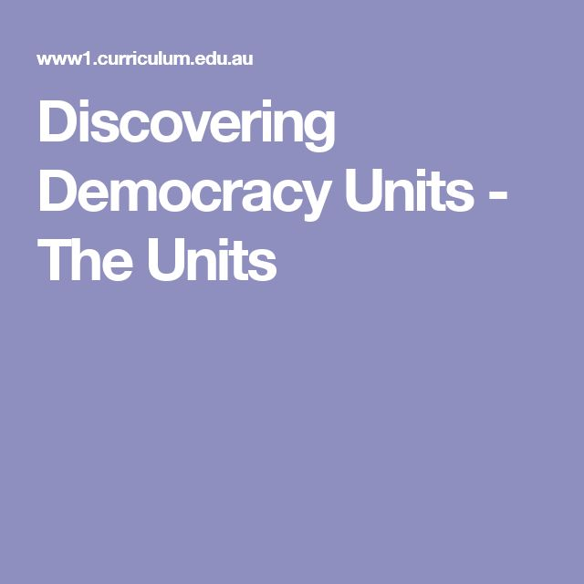 Discovering Democracy Units - The Units