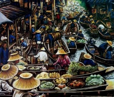 "Saatchi Art Artist Dan Civa; Painting, ""Floating Market, Bangkok, Thailand - No.H."" #art"