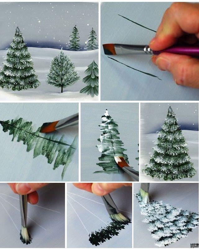 Anleitung Tannenbaume Weihnachtsbild Weihnachtskunst Baumbilder