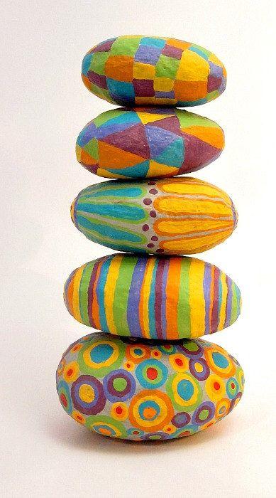 Paper Mache Stones: Set of Five Colorful Decorative Handsculpted Papier Mache Accent Stones in Brazilian Carnival Colors. via Etsy.