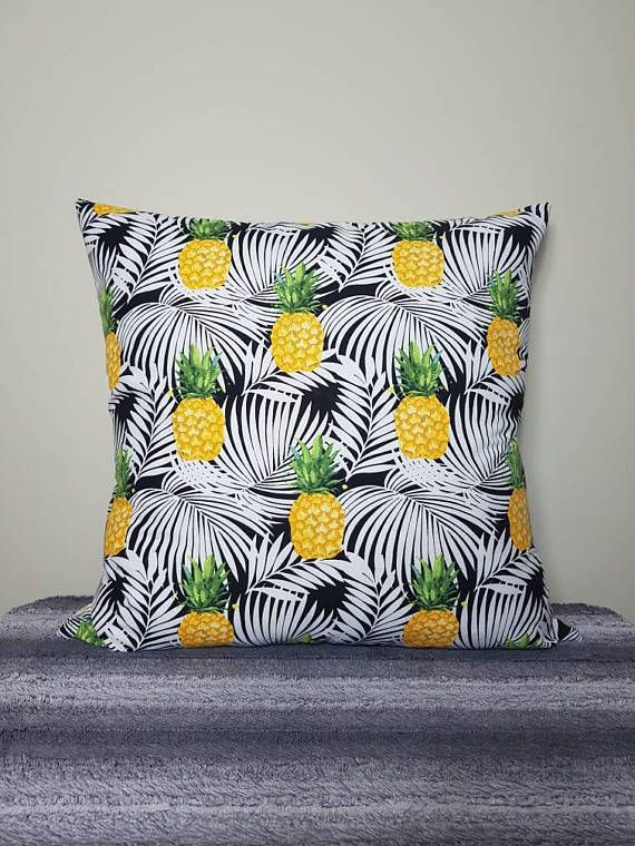 Pineapple print european cover Check out this item in my Etsy shop https://www.etsy.com/au/listing/514323216/pineapple-and-palm-leaves-print-cushion