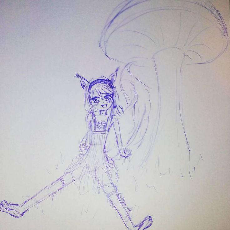 Kleines Eichhörnchen  Irgendwie hab ichs mit den #Eichhörnchen xD die sind aber auch süß :D  #anime #manga #girl #mädchen #squirrel #sitzen #sketch #zeichnen #zeichnung #draw #drawing #pilz #ohren #ears #cute #cutiepix #cutiepixdesign #augen #eyes #аниме #манга #девочка #ресунок #рисунки #ушы #глаза #Kugelschreiber #белка