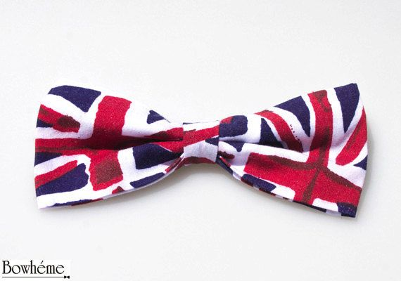 Royal Baby Pre Tied Bow TieUnion Jack by Bowheme on Etsy, $11.00