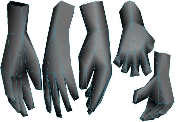 low poly hand topology
