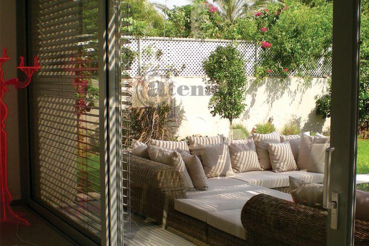 beautiful cozy garden with external aluminium blind