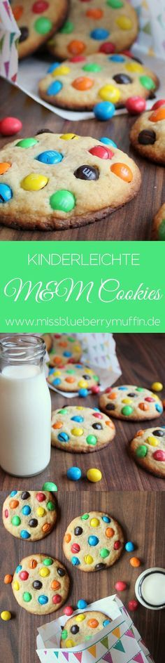 Kinderleichte M&M Cookies! So bunt und lecker! Funktioniert auch super mit Smarties. *** Quick and Easy - M&M Cookies for Kids Party Present - just Yummy ❤︎