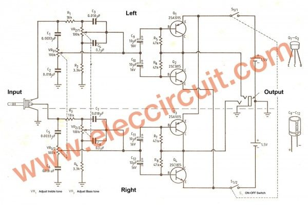 Low Voltage Preamplifier Circuit With Tone Control Using