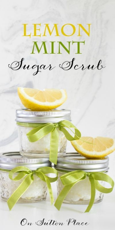 Lemon Mint Sugar Scrub | Easy to make sugar scrub that's perfect for shower favors, hostess gifts or for yourself! #Sponsored