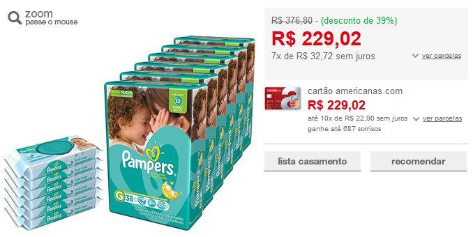 Kit 6 Fraldas Pampers Total Confort  6 Pacotes Lenços Umedecidos Pampers << R$ 22902 em 7 vezes >>