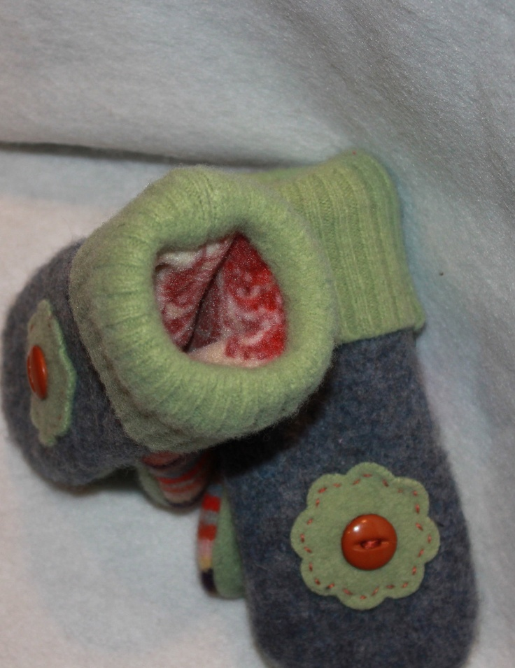 Rainbow of Colors Felted Wool Mittens for Toddler. $24.00, via Etsy.