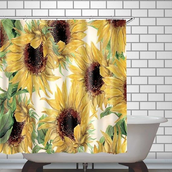 Sunflower Painted Shower Curtain Art Bathroom Waterproof Curtain Home Decor