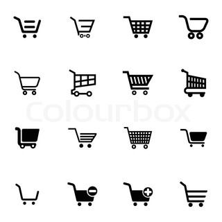 Shopping cart icons, black and white, vector graphic