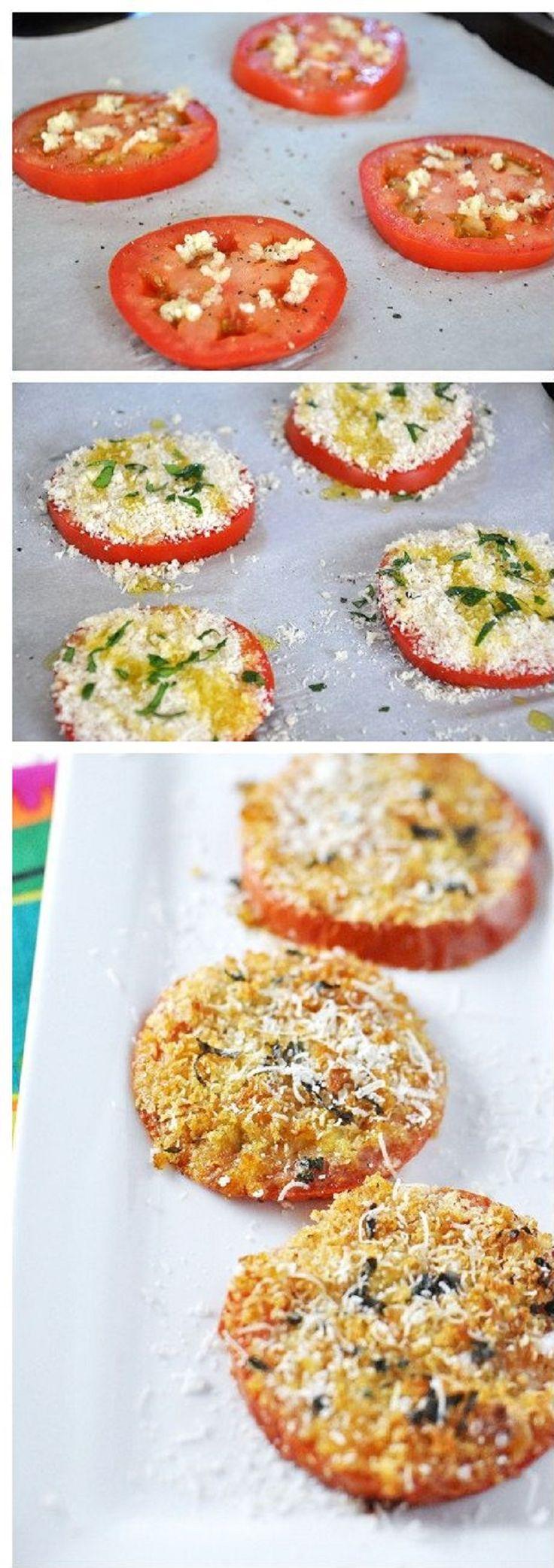 Easy Baked Cheesy Garlic Bread Tomatoes - 15 Easy Tomato Recipes | GleamItUp