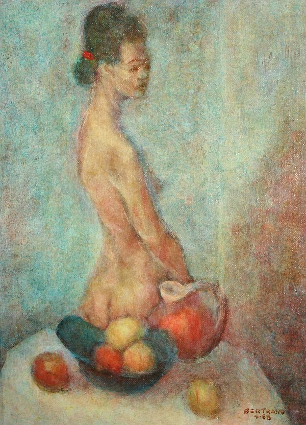 341: BERTRAND Oil Painting Nude with Still Life : Lot 341