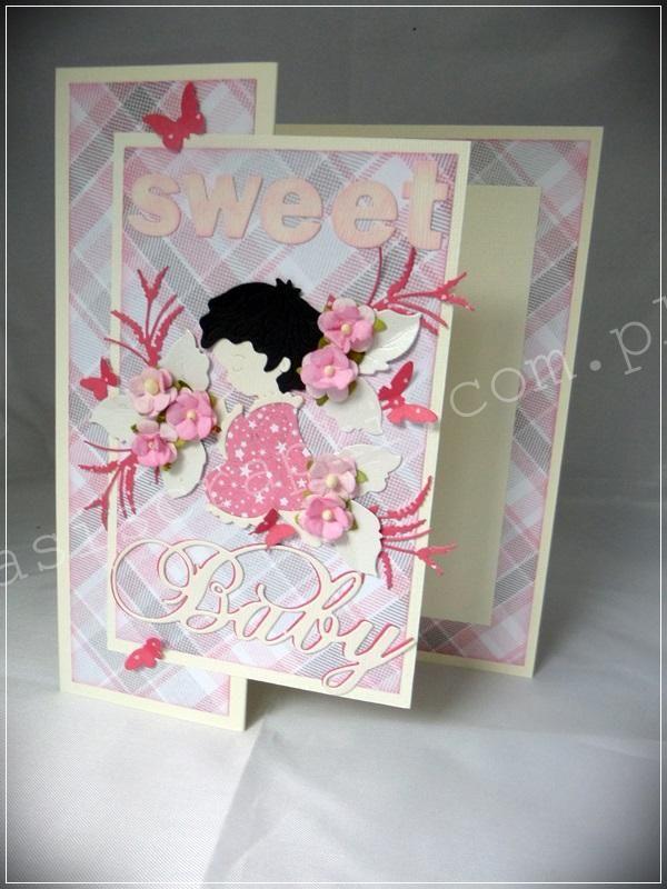 Kartka z okazji narodzin dla dziewczynki w kształcie tzw. folderu Z. Papiery…