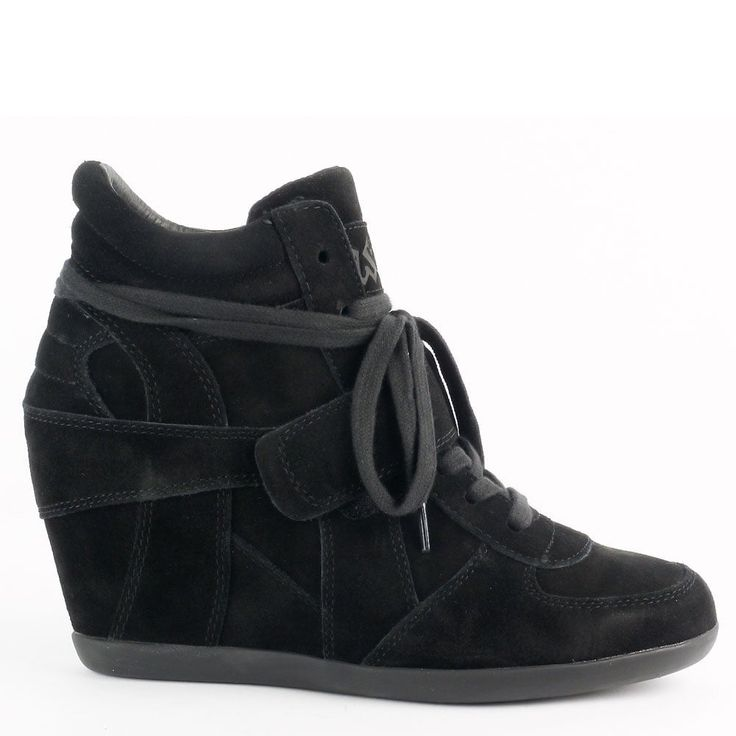 Ash BOWIE Hi-Top Wedge Trainers Black Suede Black Sole