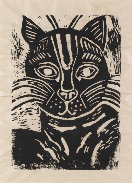 Edward Bawden Cat linocut