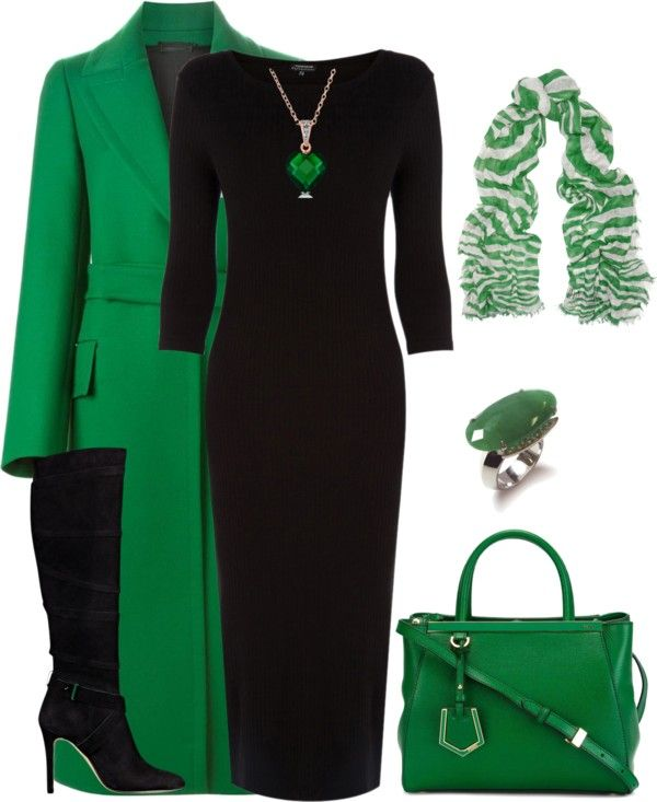 Gorgeous green with black. Love this look. Fashion attire