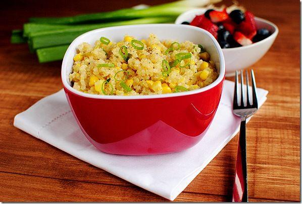 sweet corn & qinoa with honey lemon vinaigrette