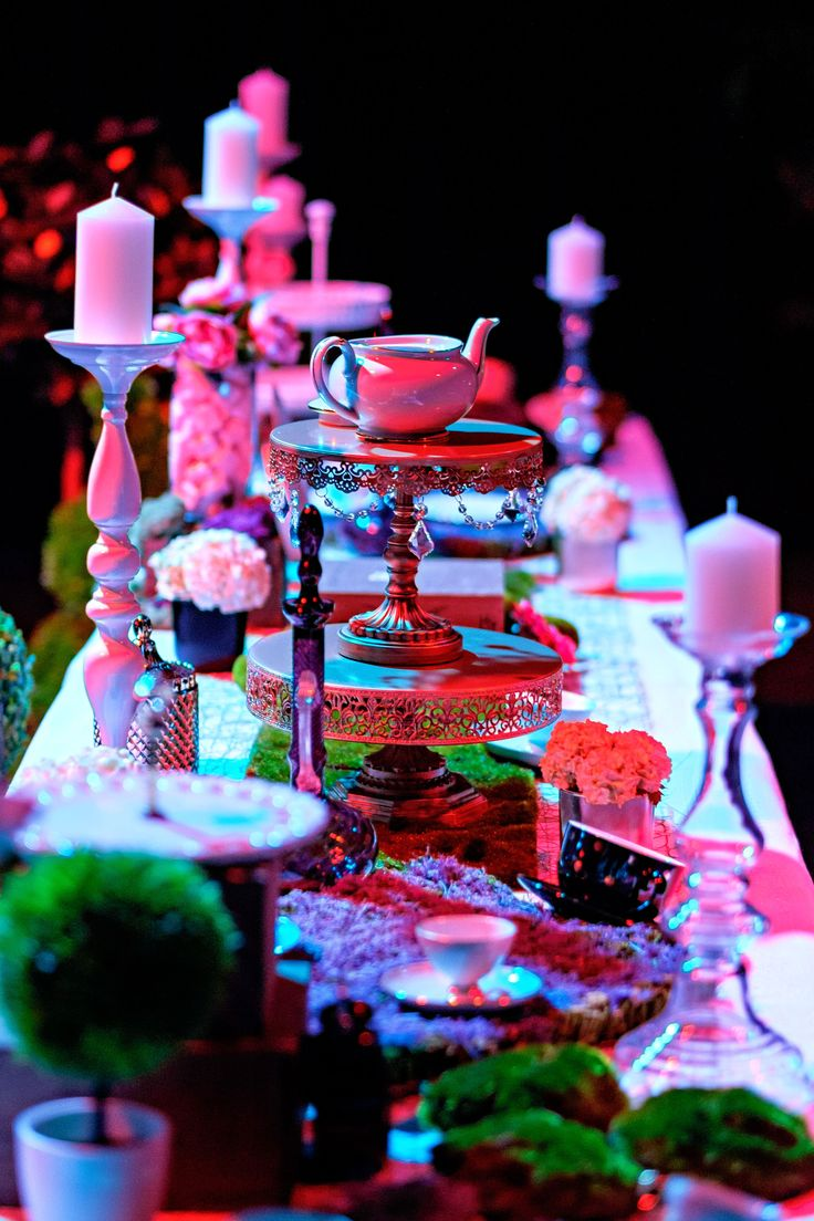 Alice in Wonderland tea party table is set and ready for desserts. Photo by Jon Jarvela
