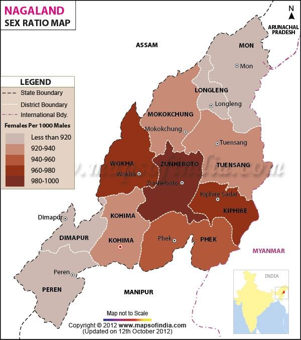 Sex ratio Map of Nagaland http://www.mapsofindia.com/census2011/nagaland-sex-ratio.html