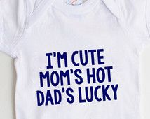 Funny Baby Boy Onesie - Newborn Baby Boy Gift - New Baby Boy Blue Onesie - Cute Hot Lucky