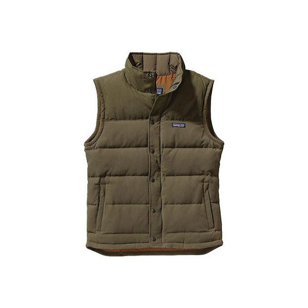 Men's Patagonia Bivy Down Vest - Fatigue Green/Bear Brown Down Jackets ($179) ❤ liked on Polyvore featuring men's fashion, men's clothing, men's outerwear, men's vests, mens zip up vest, mens vests outerwear, mens vest, mens quilted vest and mens zipper vest