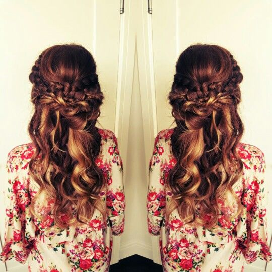 Romantic, half up half down, bridesmaid hair.