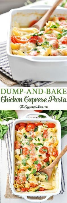 Dump-and-Bake Chicken Caprese Pasta! An easy one dish dinner recipe that's nutritious and flavorful, too!