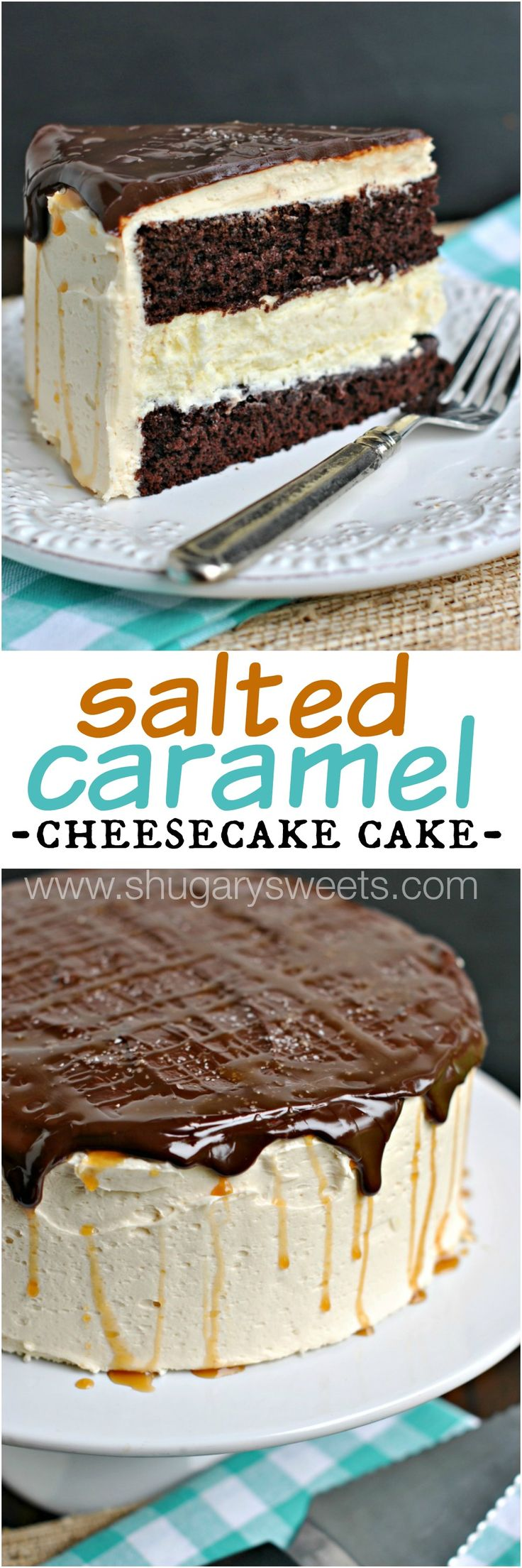 Salted Caramel Cheesecake Cake: delicious chocolate layered cake with a cheesecake center! Frosted with creamy salted caramel buttercream and chocolate ganache!