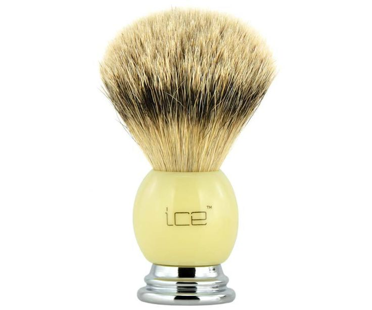 The Ice Chrome and Ivory Best Badger brush. All badger, but a higher bristle count using the softest, finest badger hair. A dense brush that produces a thick lather. Available at House of Knives.