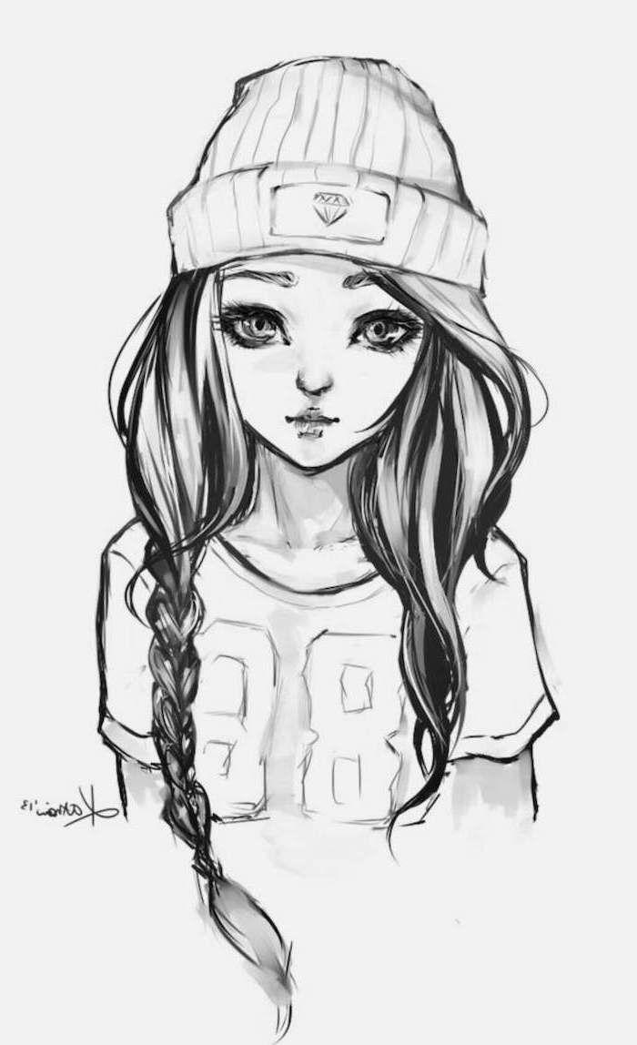 Teenage Girl Sketch : teenage, sketch, Black, White, Sketch,, Face,, Braided, Hair,, Beanie, Hipster, Drawings,, Drawings
