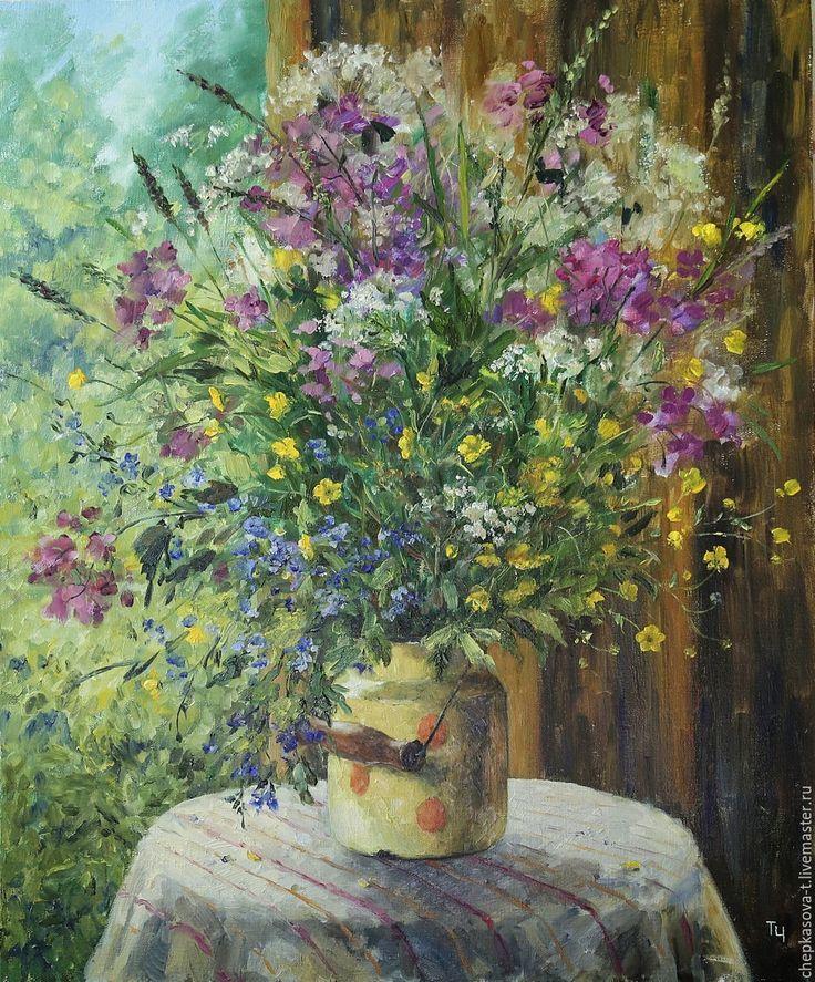 Купить Полевые цветы в старом бидоне. Холст, масло - картина для интерьера, картины для интерьера
