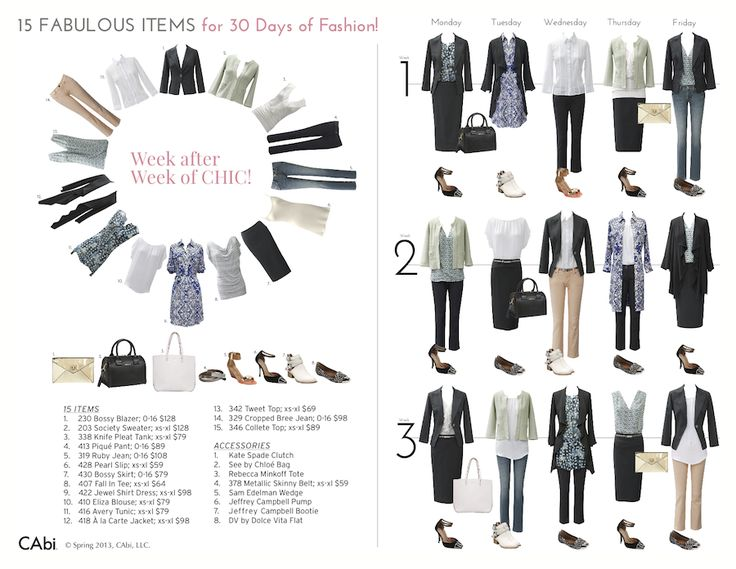 wardrobe capsules examples | 15 Fabulous CAbi Items Create 30 Days of Fashion! by Laura Brown | My ...