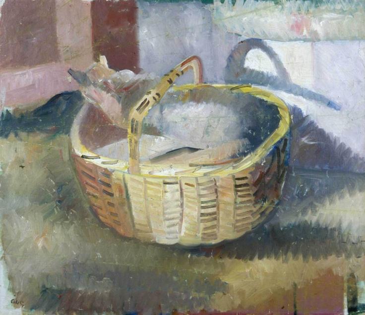 Katten i korgen - cat in basket | painting, 1930 | Åke Göransson.