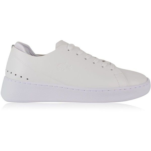 LACOSTE Eyyla Trainers (€95) ❤ liked on Polyvore featuring shoes, sneakers, lacoste trainers, lacoste sneakers, leather lace up sneakers, laced up shoes and lacoste shoes