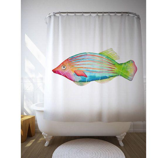 poissons colors de douche coral reef fish poisson illustration rideau linge de toilette - Rideau De Douche Color