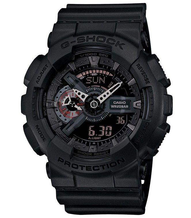 G-SHOCK horloge, GA-110MB-1AER, Model STYLE MISSION BLACK. . Dit horloge heeft een zwarte kast en zwarte wijzerplaat, een analoge en digitale tijdsaanduiding. Dit model heeft dag-, datum- en een maandaanduiding. Verder voorzien van een zwarte horlogeband met gespsluiting. Dit stoere en mooie horloge heeft vele mogelijkheden. De gemiddelde snelheid voor een afgelegde afstand kan worden gemeten.