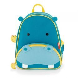 "Hippo Zoo Pack Kid's Backpack from #skiphop - Easily holds all the supplies your preschooler might need for a busy day of ""work"" and play, and the mesh side pocket adjusts to fit a juice box, sippy cup or water bottle"