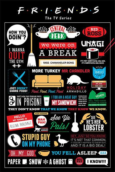 Friends TV Series Infographic Poster 61x91cm NEW Central Perk Show Quotes | eBay