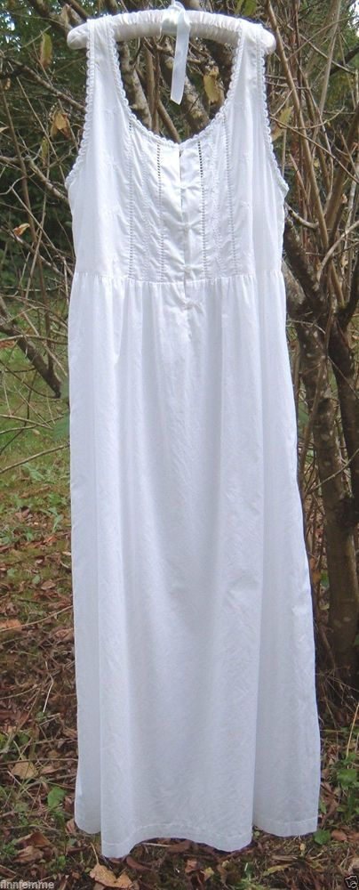 Vtg LAURA ASHLEY Victorian Boho White Cotton Embroidered Lace Dress Nightgown L  #LauraAshley