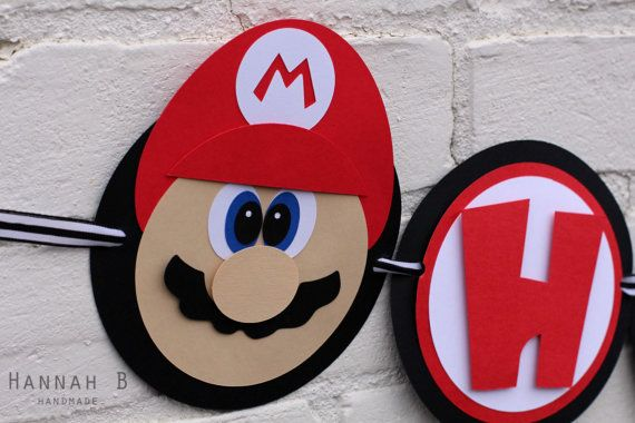 This listing is for a Super Mario Birthday Banner. This product is machine cut and handcrafted. Made with premium cardstock, ribbon and pop-up