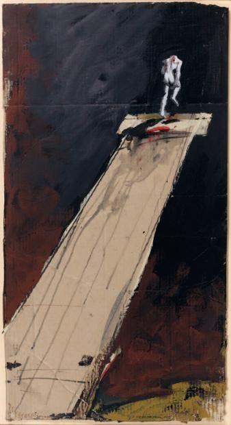 Ventes aux enchères Paris VELICOVICK Vladimir (né en 1935) Homme de Muybridge, 1989 Gouache, lavis et collage