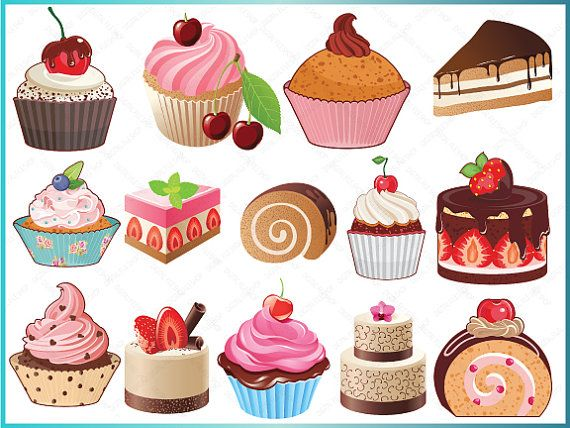 Bakery Sweets ClipArt Digital Cupcakes Clip by DigitalFileShop