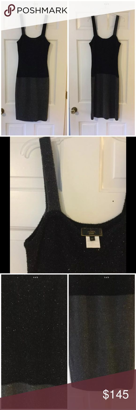 "Fendi eyelash sleeveless Colorblock dress Stunning sleeveless Fendi dress in a super soft eyelash texture. Nylon/rayon.  Size 44 is equivalent to a US size 8. Underarm across 16"". Length 43"". Excellent condition. EUC. Fendi Dresses"